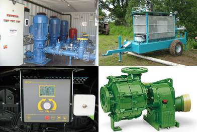 Various irrigation pumping systems and controllers
